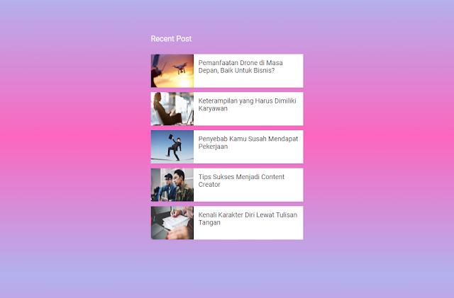 Memasang Widget Recent Post di Blogger