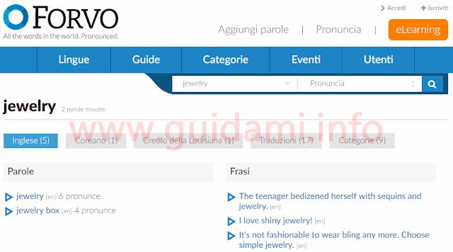 Sito web Forvo pagina risultato pronuncia parola inviata