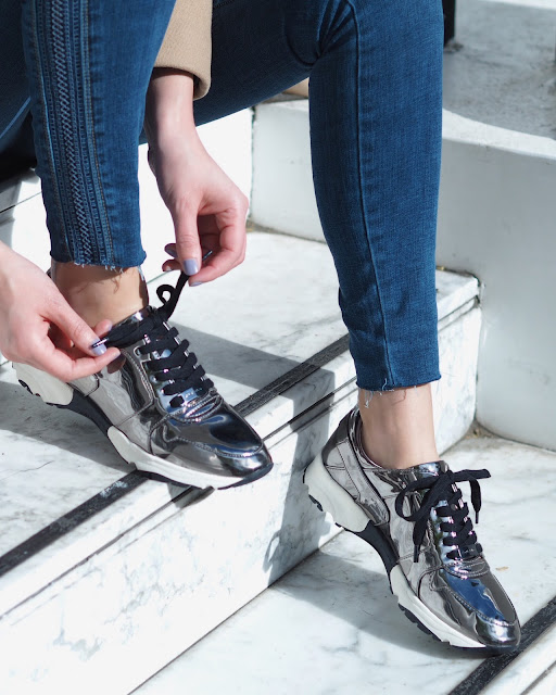 kurt geiger, metallic trainers, kurt geiger lacrosse gunmetal flat lace up trainers