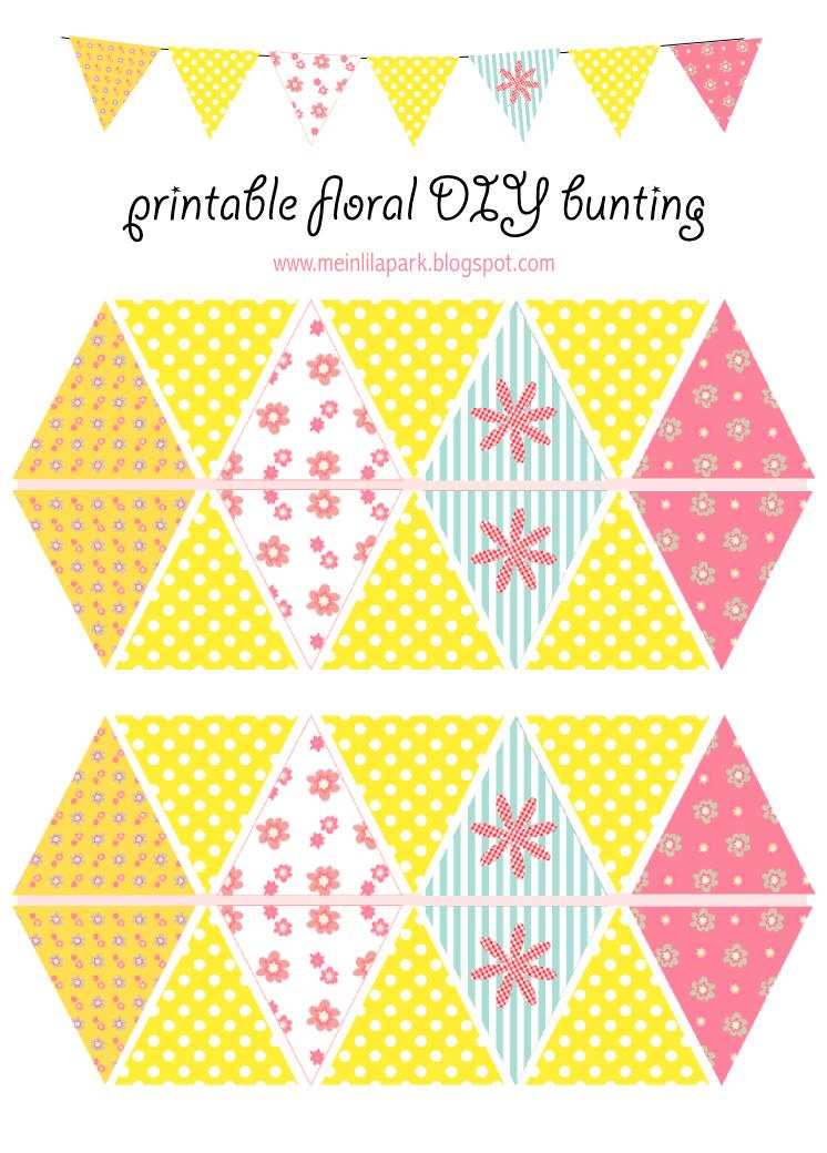 Free printable floral DIY bunting - ausdruckbare Girlande ...