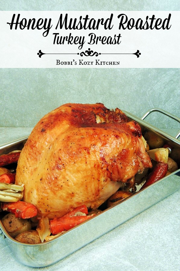 This Honey Mustard Roasted Turkey Breast recipe delivers a moist, succulent turkey with a glaze made zippy with the use of horseradish. It is addictive, I warn you! #turkey #roast #holidays #holiday #recipe #easy #christmas #thanksgiving | bobbiskozykitchen.com