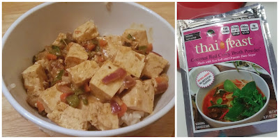 Stir fried tofu made with Thai Feast Coconut Red Curry sauce