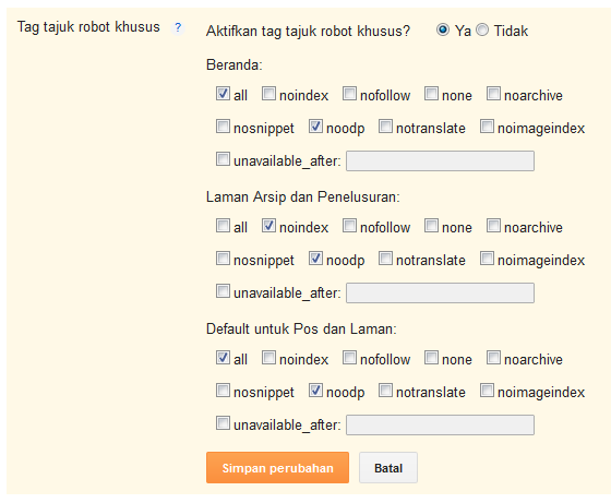 pengaturan tag tajuk robot khusus untuk duplikat title dan description