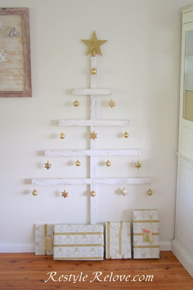 Wooden Christmas Tree With Diy Fabric Ornaments