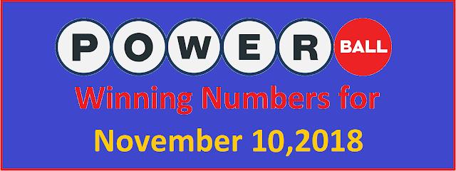 PowerBall Winning Numbers for Saturday, 10 November 2018
