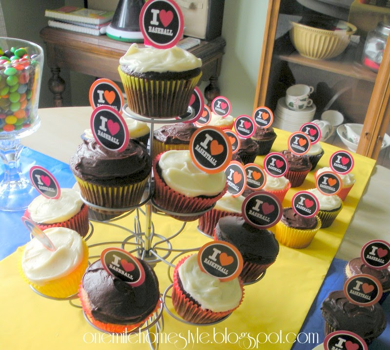 Simple Sports Theme Birthday Party - Baseball and Basketball Cupcakes