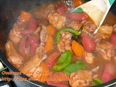 Chicken Kaldereta - Cooking Procedure