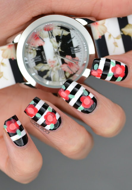 Spring Flower Striped Nail Art