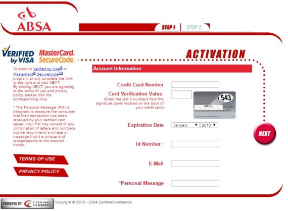ABSA 3D Secure Activation Page