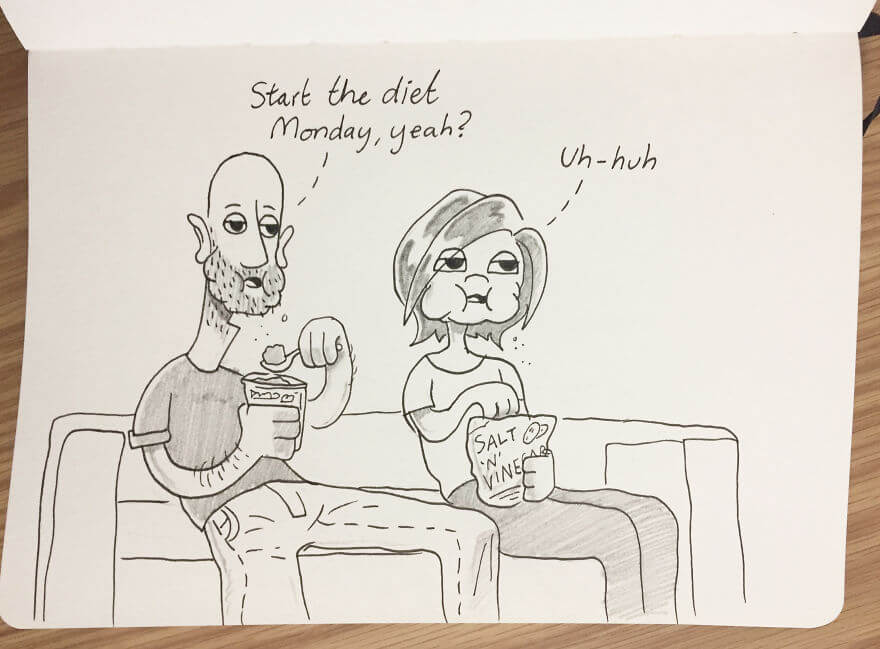 Guy Has Been Drawing A Comic Every Day For His Partner For Five Whole Years - Monday Never Comes (My Weakness Is Chocolate Ice Cream, Kellie's Is Crisps, Chips)