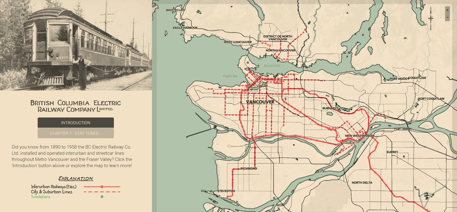 Vancouver electric railway map