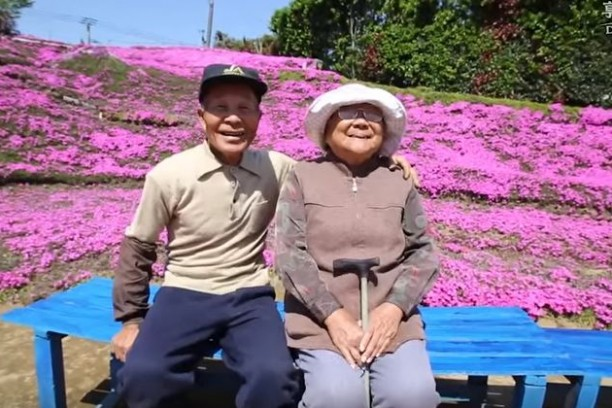 A man planted a carpet of flowers to make his blind wife happy