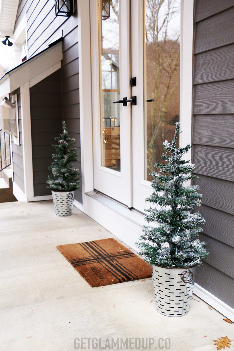 Farmhouse Porch Christmas Trees in Olive Buckets