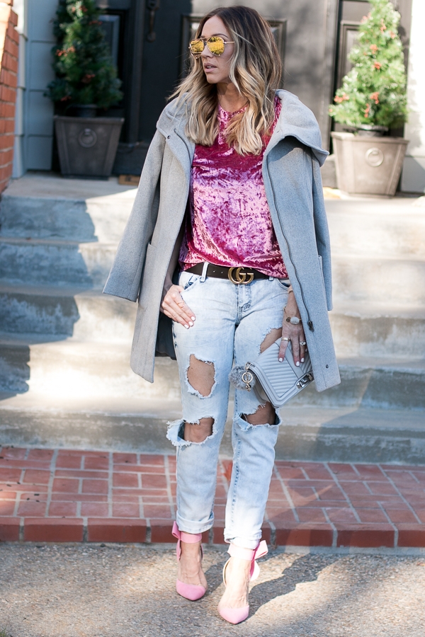 girly and edgy winter outfit pink velvet parlor girl