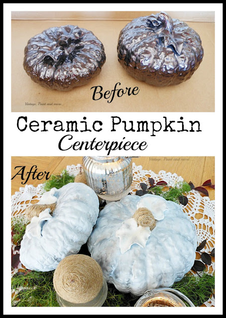 Vintage, Paint and more... diy'd thrifted ceramic pumpkins, twine wrapped pears and mercury glass candles make a beautiful neutral fall centerpiece