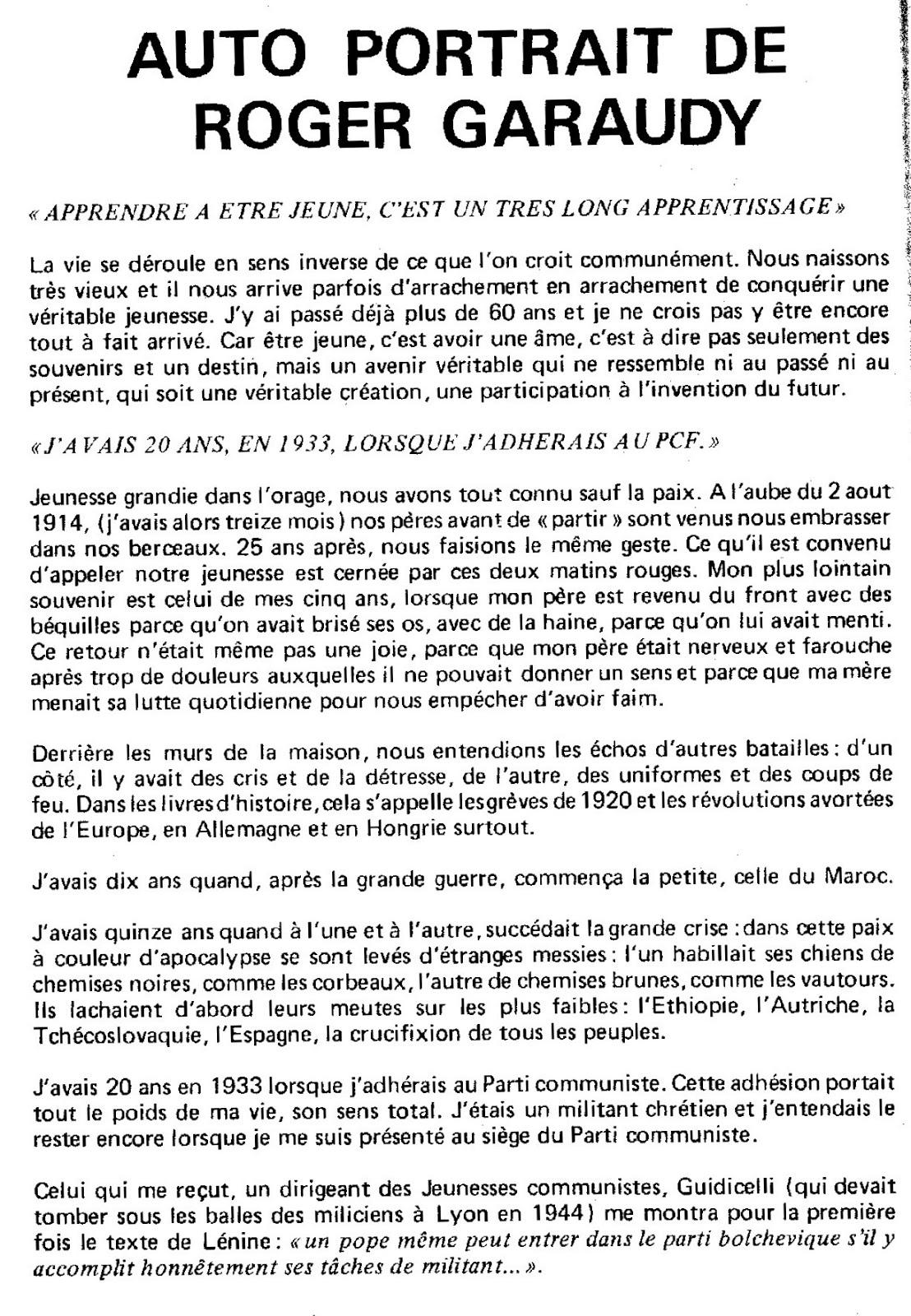 Roger Garaudy A Contre Nuit 2012