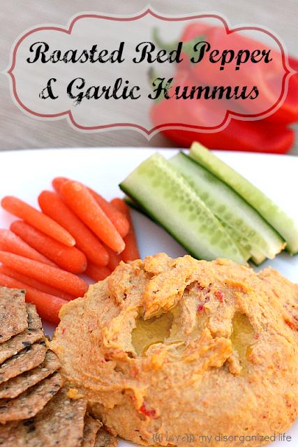 Roasted Red Pepper & Garlic Hummus {i love} my disorganized life