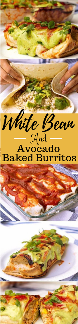 WHITE BEAN AND AVOCADO BAKED BURRITOS #healthydiet