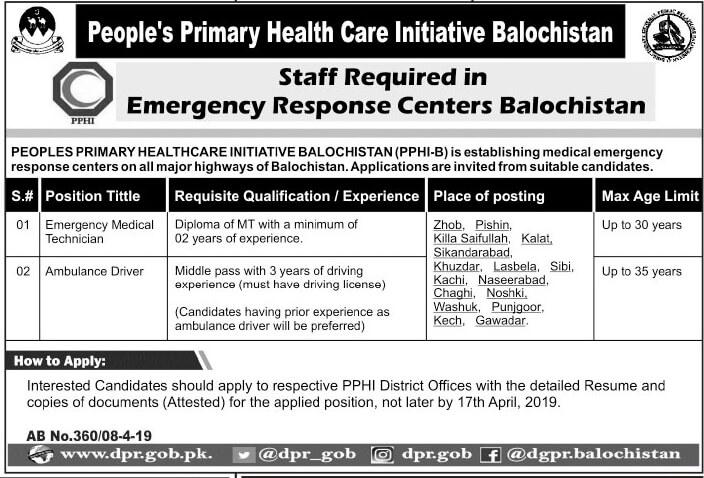 Jobs in Peoples Primary HealthCare Initiative balochistanPPHI 2019