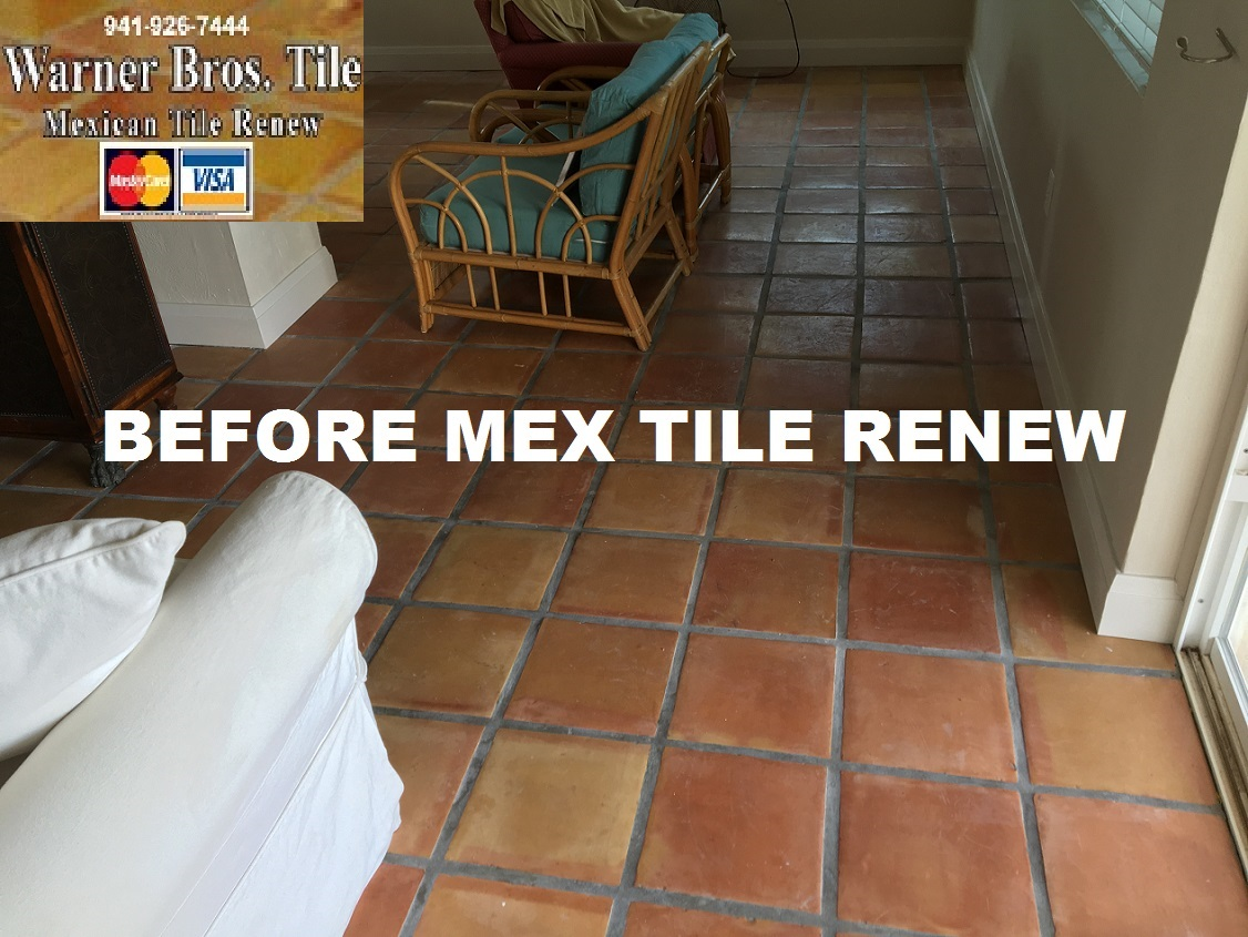 Tile cleaning stripping and sealing mexican tile sarasota mexican tile renew project at st pete beach home where mexican tile flooring had been installed 16 years ago and had not been refinished dailygadgetfo Images