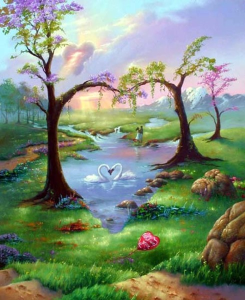 Abstract romantic nature art