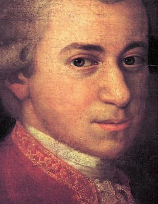 Detail of the face of Wolfgang Amadeus Mozart by Johann Nepomuk della Croce, 1780