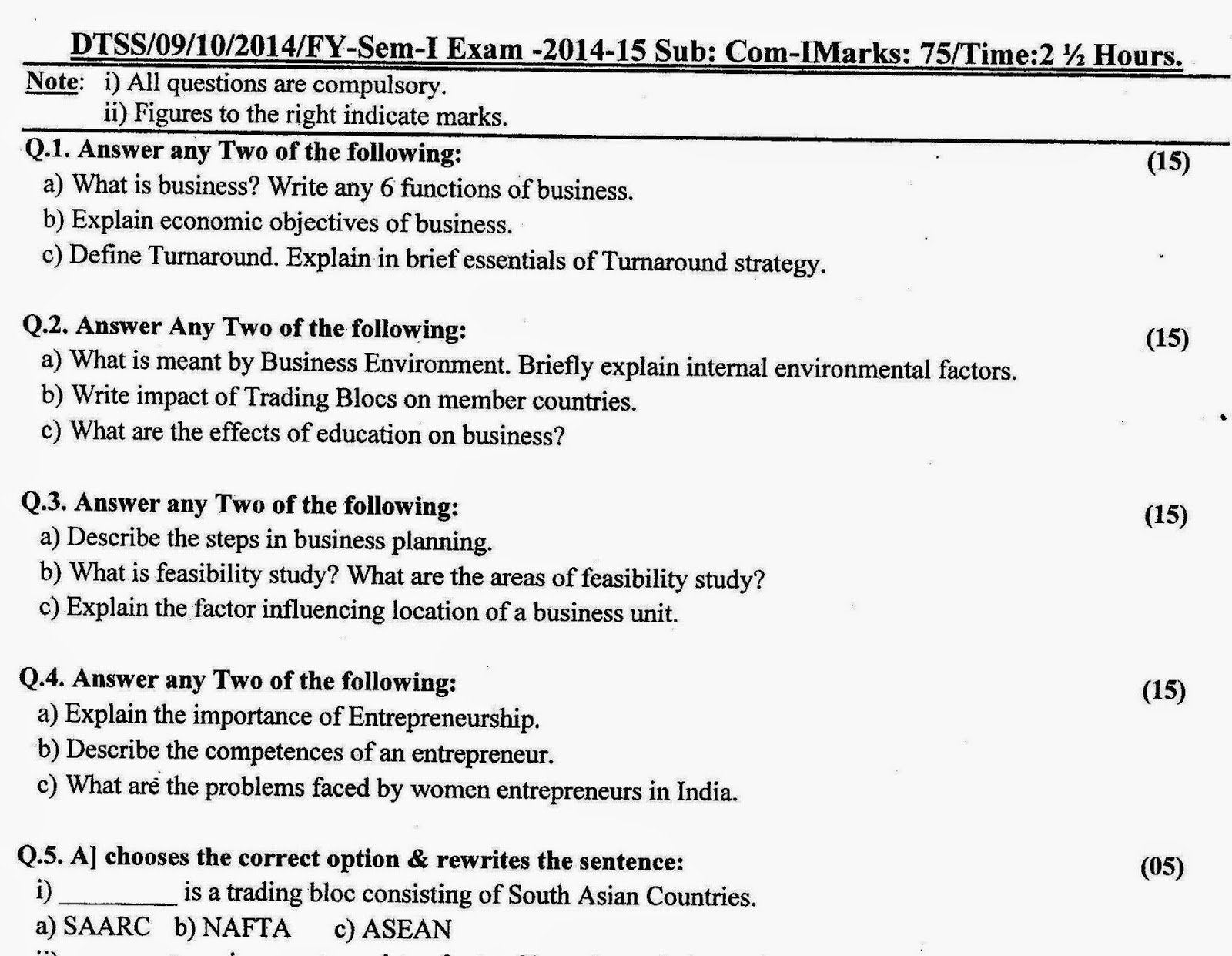Question Papers Collection: F Y B Com  SEMESTER-I EXAM