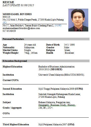 Curriculum Vitae Dalam Bahasa Melayu