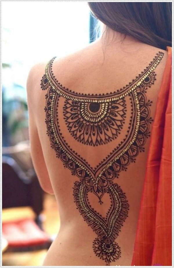 Gold Accent Back Henna Tattoo