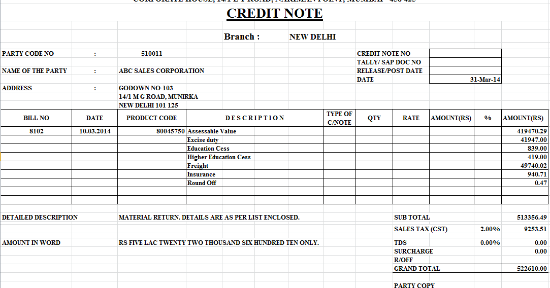 Credit Note Format in Excel