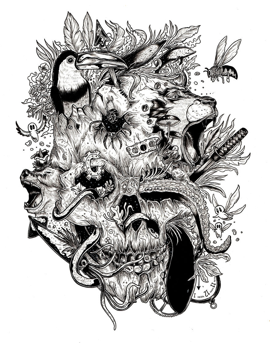 06-Destruction-Braulio-Monteiro-Black-and-White-Drawings-and-Watercolor-Paintings-that-tell-a-Story-www-designstack-co