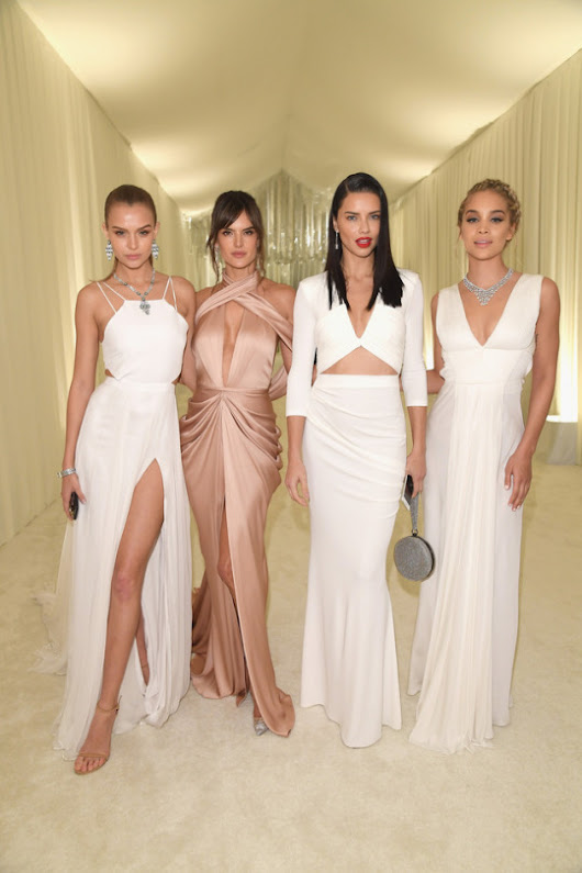 Josephine Skriver, Adriana Lima, Alessandra Ambrosio & Jasmine Sanders at the 25th Annual EJAF's Academy Awards Viewing Party
