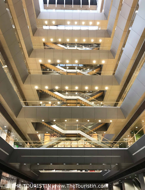 National Library of Riga – The Castle of Light. Atrium. Look up. Latvia. The Touristin
