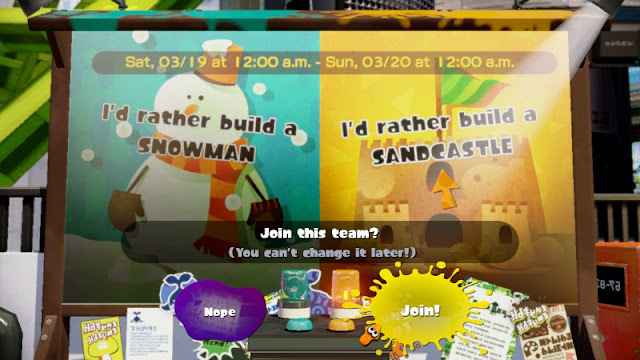 Splatoon Splatfest build a snowman or sandcastle
