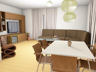 Dnevna soba in pogled na jedilnico.