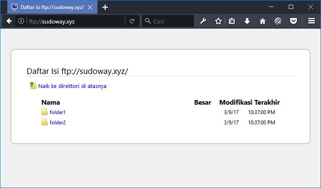 Tampilan Situs FTP Server yang Telah Dibuat
