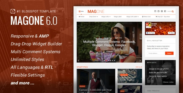 Magazine Blogger Template download gratis MagOne - Responsive News & Magazine Blogger Template Download Gratis