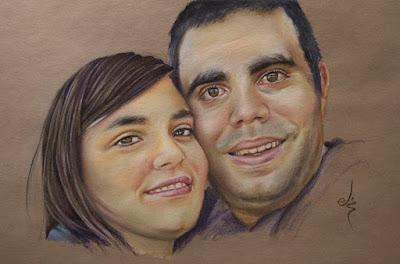 Retrato a pastel de una pareja