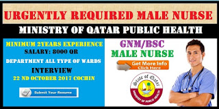Urgently Required for Gnm/Bsc Male nurse for Ministry of Qatar Public Health