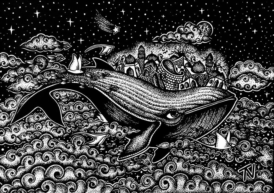 05-Surreal-Whale-Nigar-Tahmazova-Color-Plus-B&W-Animal-Ink-Drawings-www-designstack-co