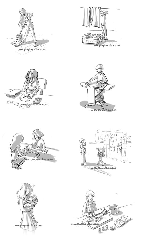 papacube Répartition des tâches ménagères  Qui en fait le plus ? - les taches menageres