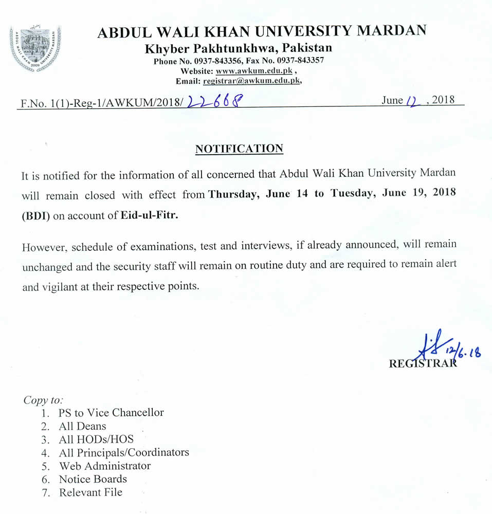 Abdul Wali Khan University Mardan: Notification From Office of The
