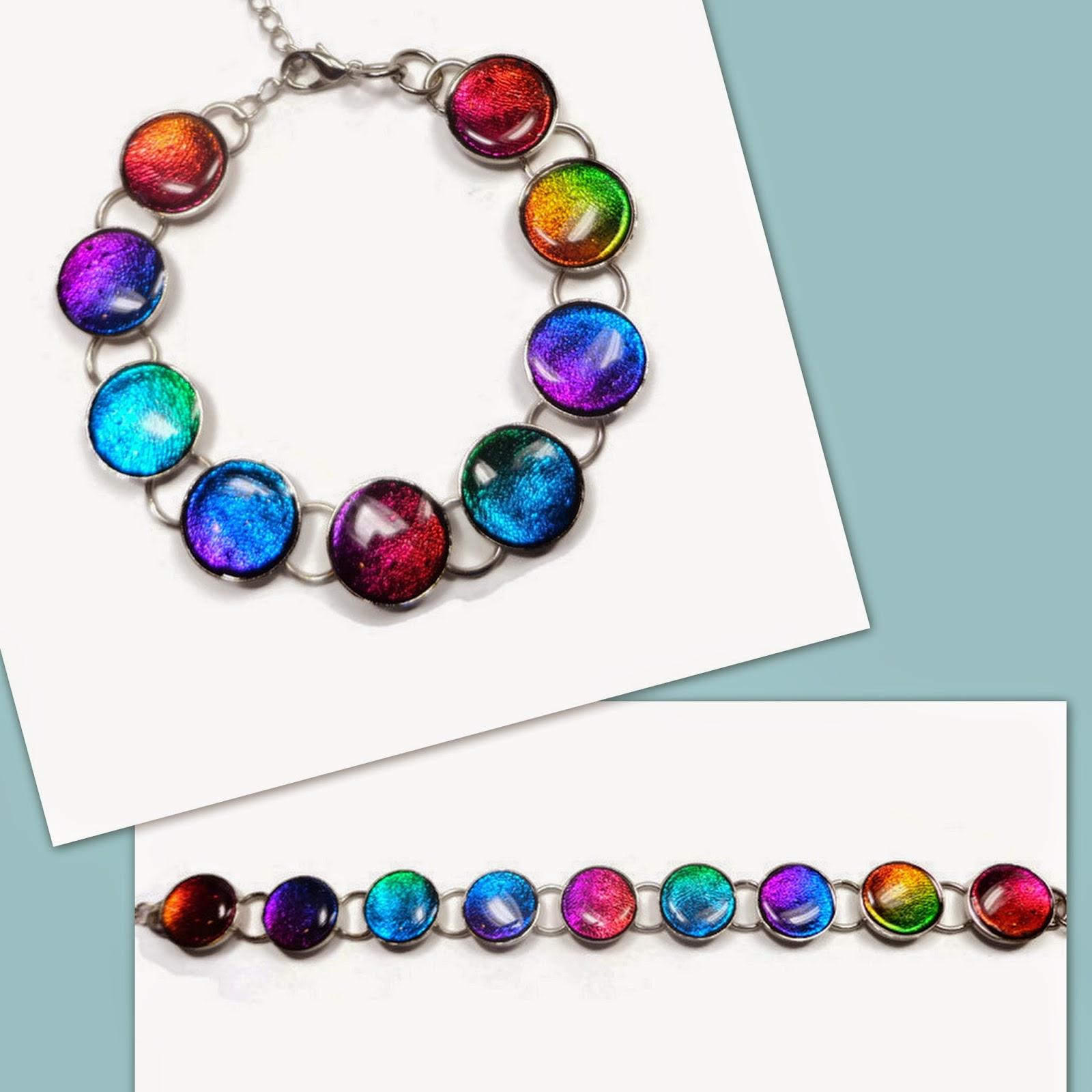 Polymer Clay Charm Bracelet: Beadazzle Me Polymer Jewelry: Polymer Clay Faux Dichroic