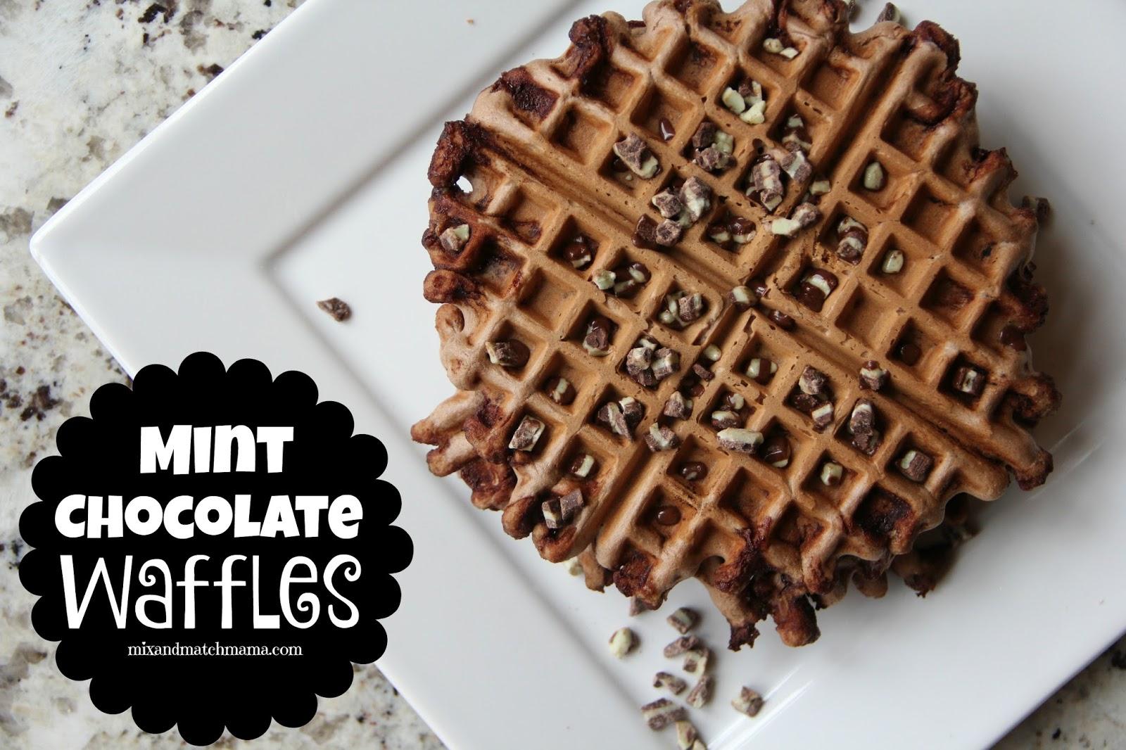 Mint Chocolate Waffles | Mix and Match Mama