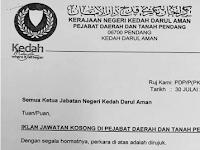 Jawatan Kosong di Pejabat Daerah dan Tanah Pendang - Permohonan Dibuka