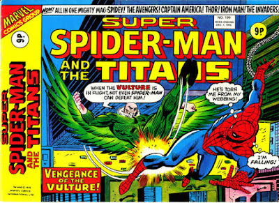 Super-Spider-Man and the Titans #199, the Vulture kicks Spider-Man in mid-air, above New York