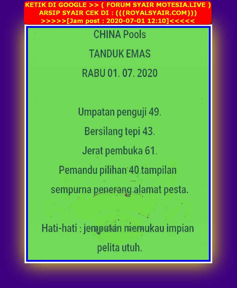 Kode syair Singapore Rabu 1 Juli 2020 36