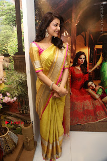 Actress Kajal Agarwal Stills in Golden Silk Saree at Trisha Sesigner Store Launch  0099.jpg