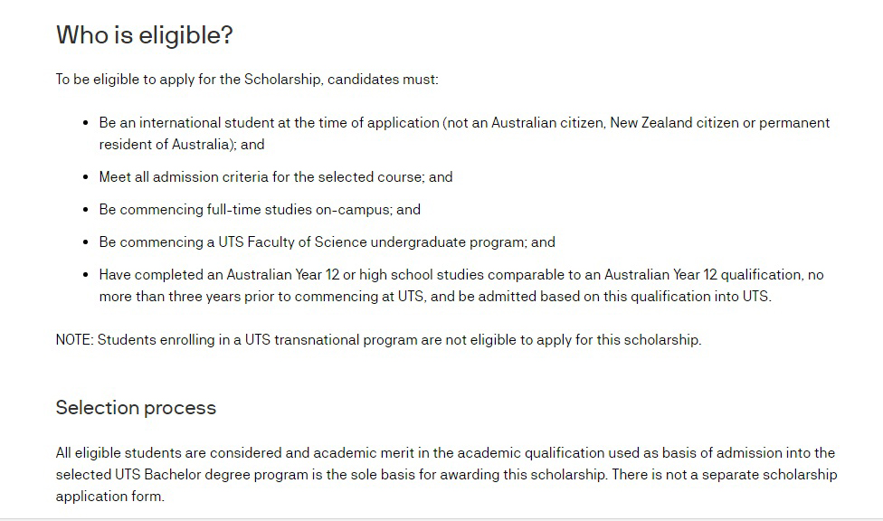 UTS Science International Scholarship for Australian and World Students