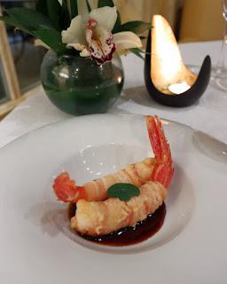 Gamberi in tempura a El Jardin de Orfila